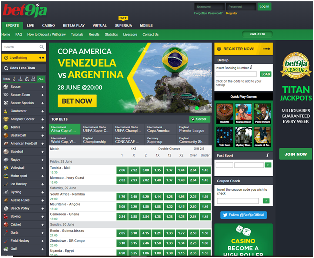 Bet9ja Sports betting in Naira and play slots in real time