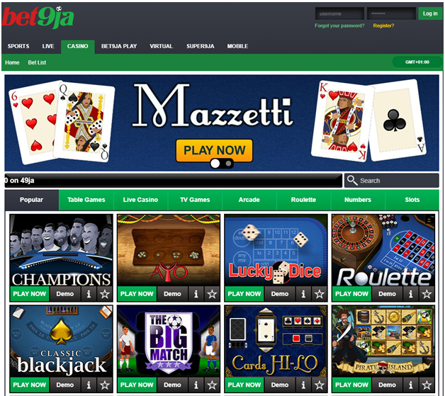 Bet9ja casino to play slots