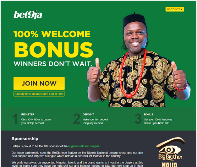 Bet9ja sports betting in Naira