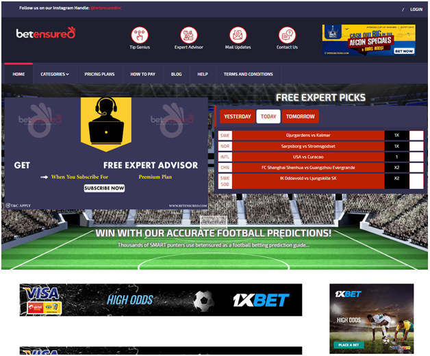 Betensured football prediction site
