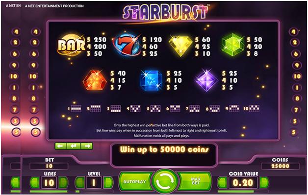 Starburst slot game features