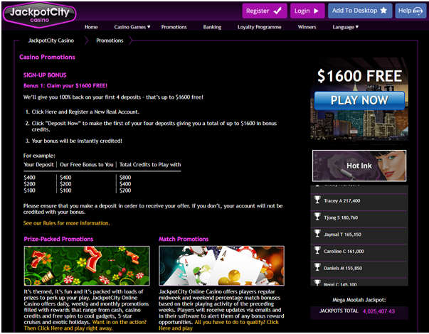 Jackpot city casino bonus offers