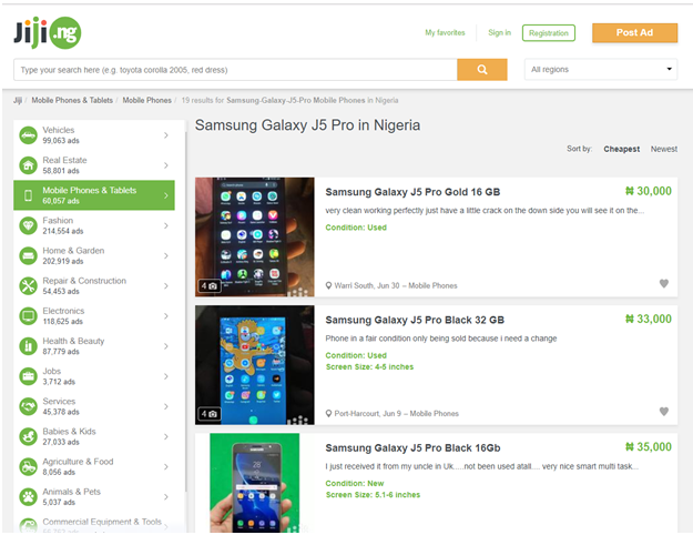 Best mobile prices in Nigeria